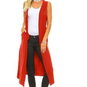 Sweaters - NWT Bright Red Vest Duster Cardigan Jacket Sweater